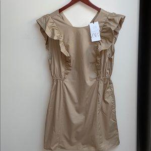 NWT Zara Ruffle Khaki Dress